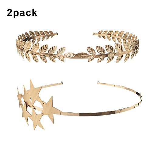 (2 Pack) Roman Goddess Leaf and Star Branch Dainty Bridal Hair Crown (Greek Goddess Costume Women)