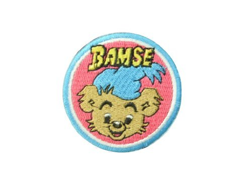 2 pieces BAMSE Iron On Patch Embroidered Applique Motif Fabric Children Decal dia. 2 inches (5 cm)