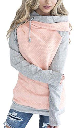 Womens Pink Hoodie Sweatshirt - Hoodies for Women Oblique Zipper Sweatshirts Long Sleeve Hooded Tops Spliced Color Casual Pullover Pink