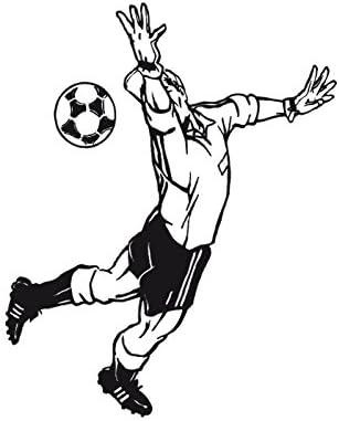 TATOUTEX Stickers Portero de fútbol y balón - Gris Claro, L 50 cm ...
