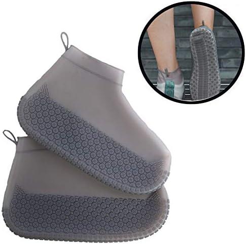 靴カバーシリコンオーバーシューズは、カーペットや床を保護するためのポータブルで再利用可能な防水性の厚い滑り止め耐摩耗性フットカバーです,Teagray,L