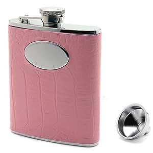 Pink Crocodile Leather Flask (Engravable)