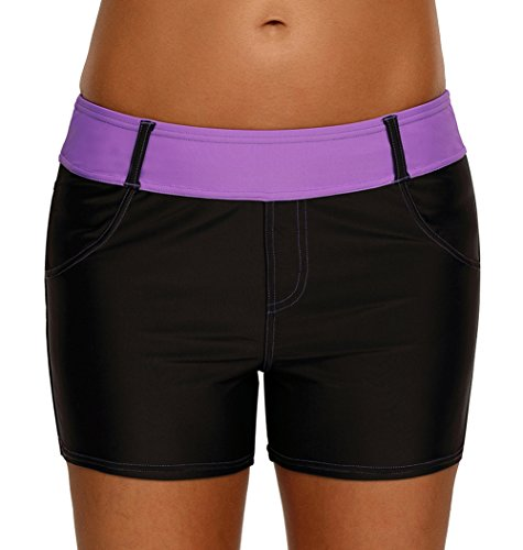 Happy Sailed Women Plus Size Junior Sporty Beach Bottoms Swim Shorts Stretch Board Shorts,Large (Female Inflation Suit)