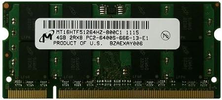 Mt16htf51264hz 800c1 Micron 4gb Pc2 6400 Ddr2 800mhz Non Ecc Unbuffered Cl6 200 Pin Sodimm Dual Rank Memory Module At Amazon Com