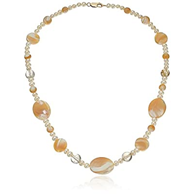 "Cheap White Potato Freshwater Cultured Pearl, Mother of Pearl and Rutilated Quartz Strand Necklace, 18"" for cheap"