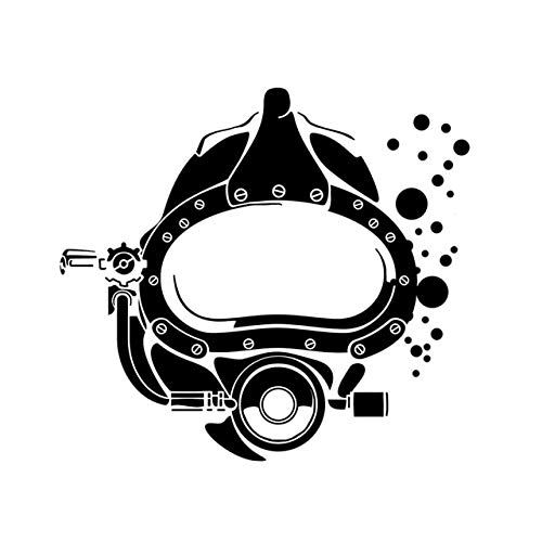 (16.6X15.1CM Funny Scuba Diver Mask Silhouette Car Stickers Vinyl Decor Accessories C12-0715 - Black)