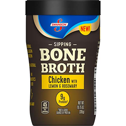 Swanson Sipping Bone Broth, Chicken with Lemon & Rosemary, 10.75 oz Cup