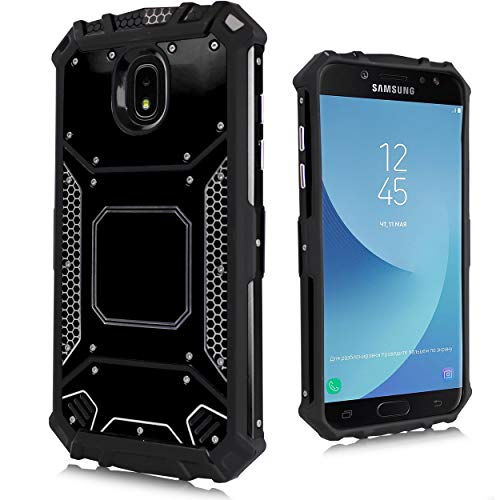 for Samsung Galaxy J3 Star 2018, Orbit, Achieve, J3V 3rd Gen, Express Prime 3, Amp Prime 3 (J337) Carbon Fiber Metal Hybrid Defender Jacket Shockproof TPU Tough Armor Case [Cushion Corner] (Black)