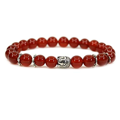 AA Grade Red Agate with 925 Sterling Silver Buddha Head Gemstone 8mm Round Beads Stretch Bracelet 7