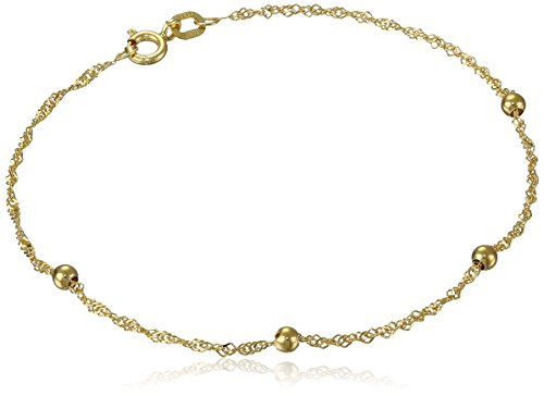 14k Yellow Gold Singapore Bead Station Bracelet, 7.5