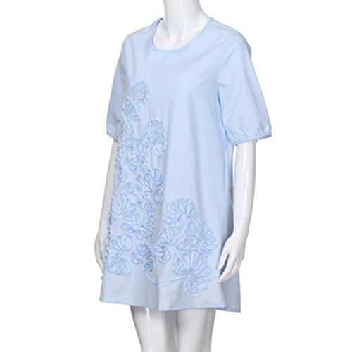 26d66e36a4 MIARHB Women s Cotton Linen Dress Loose Casual Short Sleeve Floral Printed  Mini Dresses
