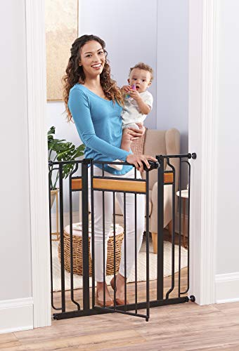 Regalo Home Accents Extra Tall and Wide Baby Gate, Bonus Kit, Includes Décor Hardwood, 4-Inch Extension Kit, 4-Inch Extension Kit, 4 Pack Pressure Mount Kit and 4 Pack Wall Cups and Mounting Kit from Regalo