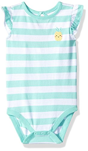 Gymboree Baby Girls 1-Piece Flutter Sleeve Bodysuit, Sweet Mint Stripe, 6-12 Mo