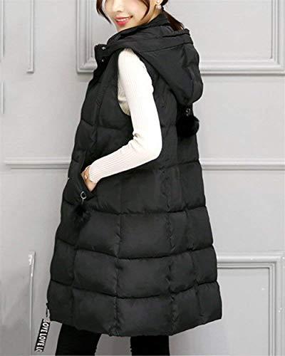 Giovane Di Casual Women Giacca Moda Trapuntato Donna Schwarz Transizione Incappucciato Colori Gilet Eleganti Caldo Cappotto Smanicato Lunga Solidi Invernali Addensare p68nwxUvqO
