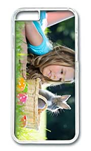 Easter eggs cute girl rabbit Happy Easter PC Transparent Hard Case for Apple iPhone 6(4.7 inch)