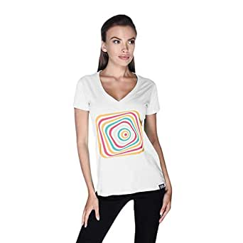 Creo Abstract 03 Retro T-Shirt For Women - L, White