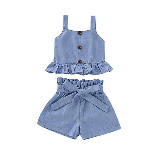 - Toddler Baby Girl Halter Denim Outfits Set Ruffled Strap Crop Tops+Short Pants with Bowknot Belt Summer Clothes Set (Denim, 3-4 Years)