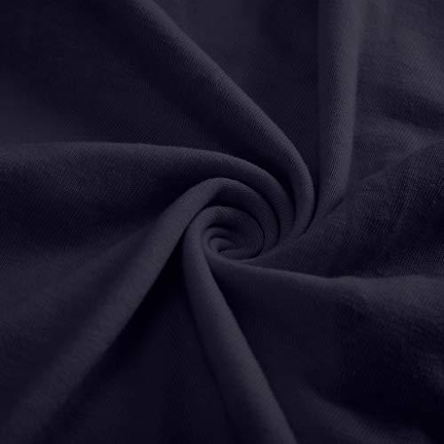 Women's Casual T-Shirts Summer Short Sleeve Color Block Stripe Print Tops Plus Size Cotton Patchwork Blouse Top Shirts (Navy, XXXXXL) by Cealu (Image #6)