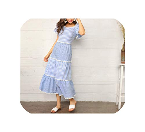 (Blue Lace Trim Tiered Mixed Gingham Maxi Dress Women Cotton Puff Sleeve High Waist A Line,Sky Blue,S)