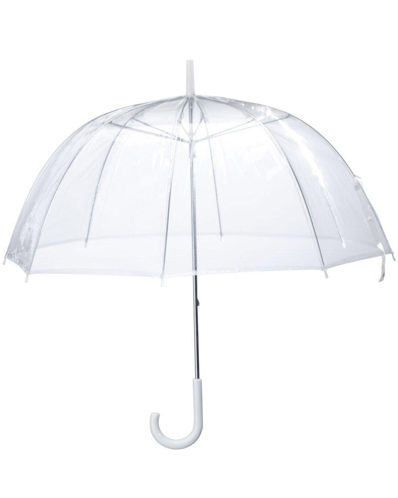 (6 Pack) 46'' Clear Bubble Umbrella Auto Open Fashion Dome Shaped European Hook Handle by Sara Rain