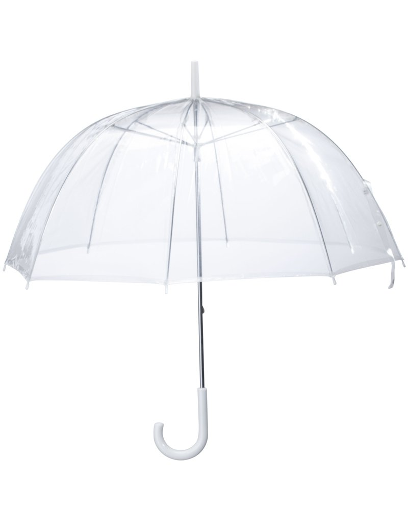 (6 Pack) 46'' Clear Bubble Umbrella Auto Open Fashion Dome Shaped European Hook Handle