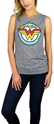 Hybrid DC Comics Womens Wonder Woman Sleeveless Tank Top (Vintage WW Logo, Medium) (Hybrid Womens Tank Top)