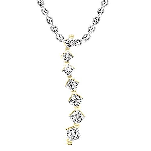 (Dazzlingrock Collection 0.30 Carat (ctw) 14K Princess Diamond Ladies Journey of Life Pendant 1/3 CT, Yellow Gold)