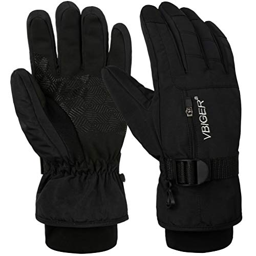 - VBG VBIGER Warm Winter Gloves Waterproof Ski Gloves Cold Weather Snow Snowboard Motorcycle Gloves Black Work Gloves for Men Women (Large, Black)