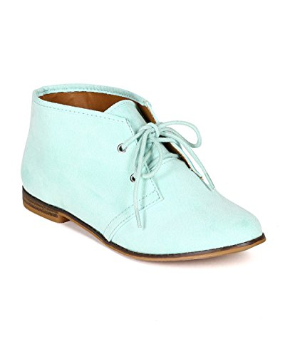 Qupid CB45 Women Suede Round Toe Lace Up Oxford Flat Bootie - Menthol (Size: 7.5)
