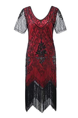 (Metme Women's Roaring 1920s Gatsby Dresses Short Sleeve Black Dress Cocktail Flapper)