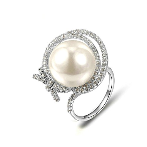 Pearl Diver Costume (Epinki Fashion Jewellry Platinum Plated Womens Wedding Ring Pearl Cubic Zirconia White Gold Size 6)