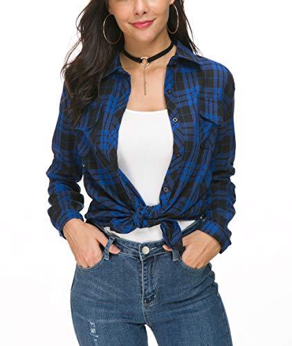 Jug&Po Womens Casual Cuffed 3 4 Long Sleeve Plaid Button Down Shirts Blouse Tops (Medium Royal Blue) ()