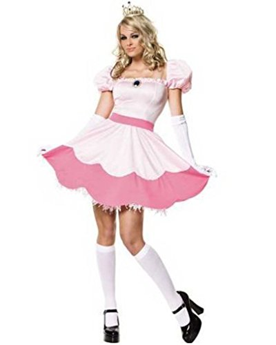 [Minetom Princess Peaches Costume Cosplay Mario Gaming Outfit Fancy Dress] (Princess Peach Costumes Women)