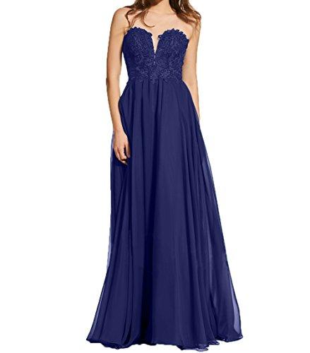 Damen Blau Herzausschnitt Promkleider Spitze Abschlussballkleider Abendkleider Partykleider Royal Schwarz Charmant vRHnwqBR