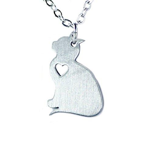 Silver Tone Lover Heart Outline Cat Pendant - Outline Cat Of