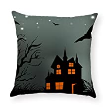 Halloween Eve In The Moonlight Pillow Cover,Woaills Hidden Zipper Linen Sofa Cushion Cases Home Decor Square 18 Inches (I)