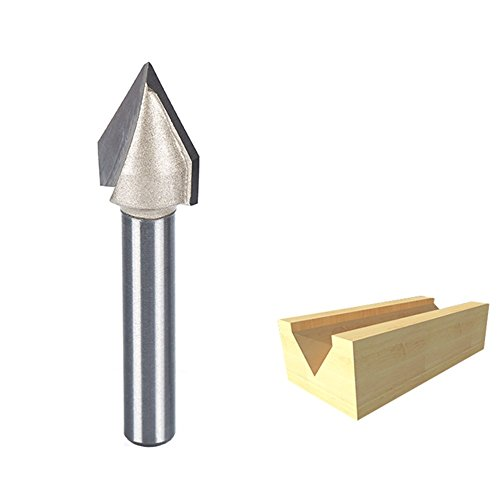 Flush Trim V-groove Router Bit - HUHAO 60 Degree Router Bit CNC Engraving V Grooving Bit Cutter With 1/4 Shank 1/2-Inch Cutting Dia
