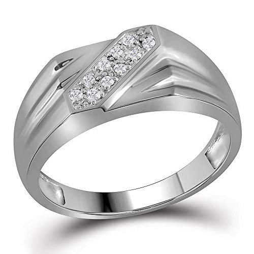 CoutureJewelers Sterling Silver Mens Round Prong-Set Diamond Diagonal Double Row Band Ring 1/10 Cttw
