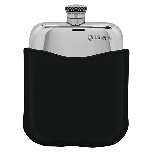 Premium Pewter Flask with Black Leather Pouch by Prince of Scots