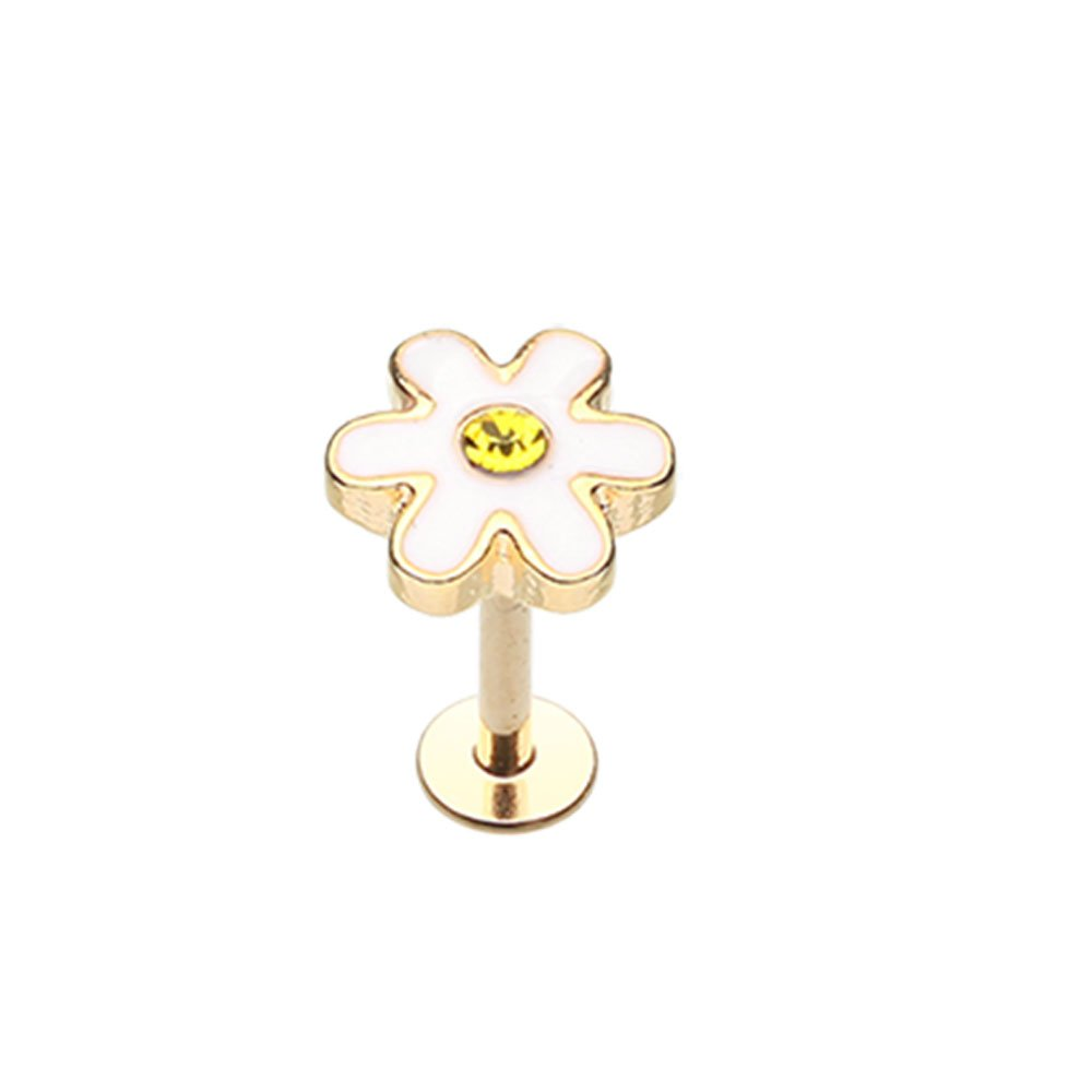 Inspiration Dezigns 16G Golden Adorable Daisy Steel Labret Sold Individually