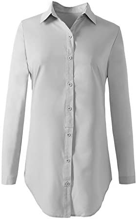 19c39e28fe1ef FITIBEST Women Blouse Long Sleeves Shirt Oversized Boyfriend Fit Blouse  Loose Tunic Shirt