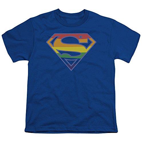 (Superman Iconic DC Comics Hero Prismatic Rainbow Symbol Big Boys Youth T-Shirt)