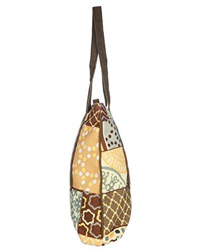 Donne floreali grande borsa a tracolla verde oliva