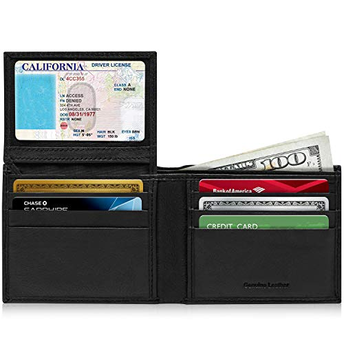 Slim Bifold Leather Wallets For Men - Front Pocket Mens Wallet Bi Fold Flip Up ID Window RFID Blocking Box Gifts For Men
