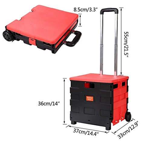(US Stock) Folding Hand Truck Luggage Trolley Cart,Lightweight Travel Hand Truck Box/Case Carrier for Indoor Outdoor Travel Shopping (Black & Red) by Hindom