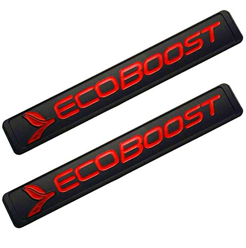 2Pcs Ecoboost Badge Emblems 3D Nameplate Door Fender Tailgate Stickers Replacement for Ford F-150 (Black/Red)