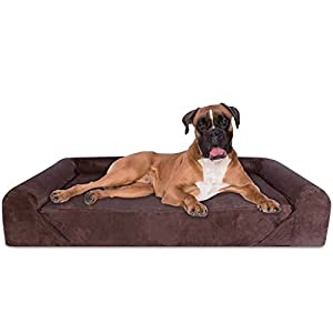 KOPEKS Deluxe Orthopedic Memory Foam Sofa Lounge Dog Bed, X-Large, Brown