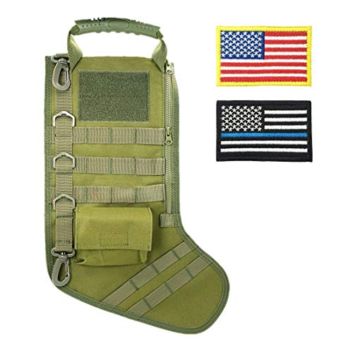 (SPEED TRACK Tactical Christmas Xmas Stocking W/Handle, Perfect Mantel Decoration, Gift for Veterans Military Patriotic and Outdoorsy People)