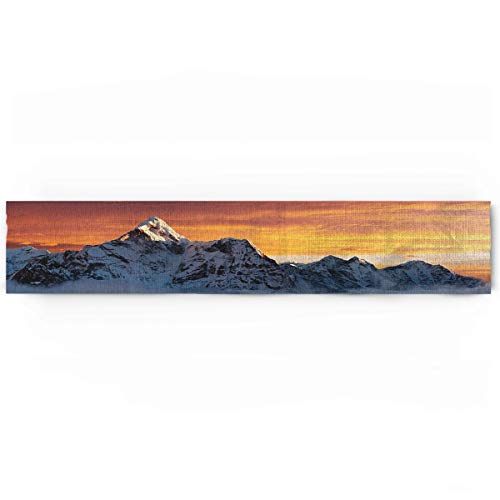 Mountain Cotton Linen Table Runner Rectangle Plate Mat Outdoor Rug Runner for Coffee Dining Banquet Home Decor, Sunlights on Summit of Everest Scenic Scenery Sunset in Natural Paradise, 18 x 72 inch