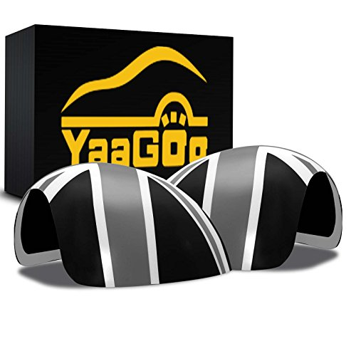 YaaGoo Out Side Wing Door Mirror Cover Plastic Decoration with Sticker Tape, for Mini Cooper,Grey Jack,R56 R55 R56 R58 R59 R60 R61,NOT Power Folding